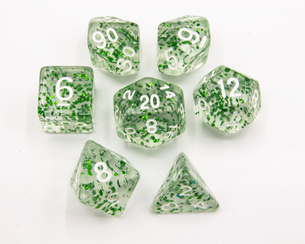 Green Set of 7 Glitter Polyhedral Dice with White Numbers