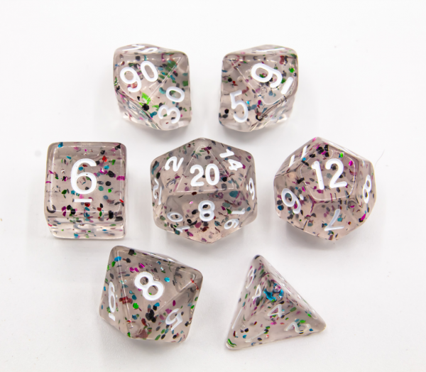 Rainbow Set of 7 Glitter Polyhedral Dice with White Numbers