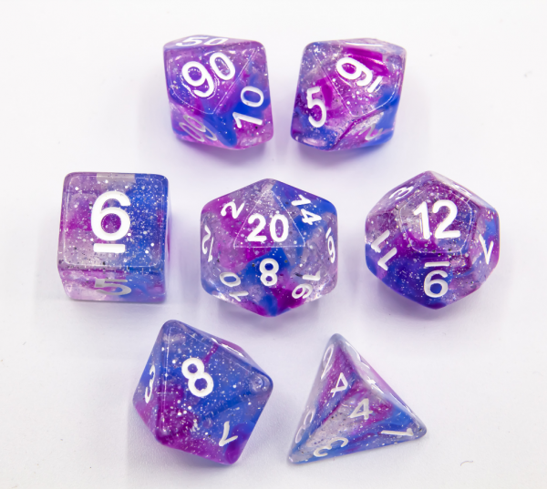 Blue/Purple Set of 7 Galaxy Polyhedral Dice with White Numbers