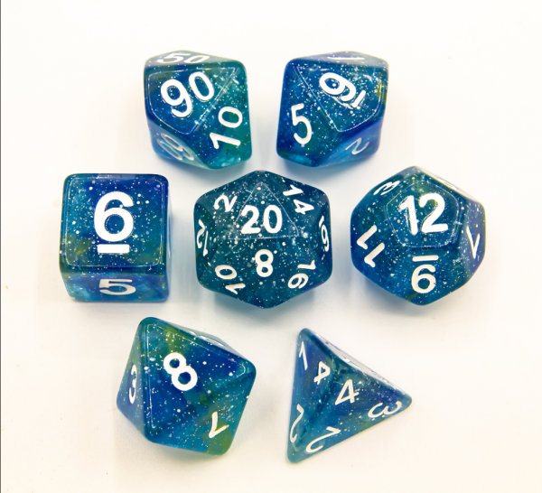 Blue/Yellow Set of 7 Galaxy Polyhedral Dice with White Numbers