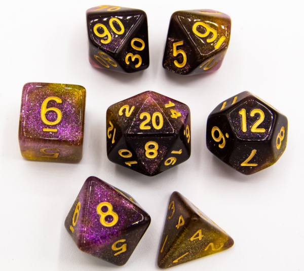 Purple/Yellow Set of 7 Galaxy Polyhedral Dice with Gold Numbers