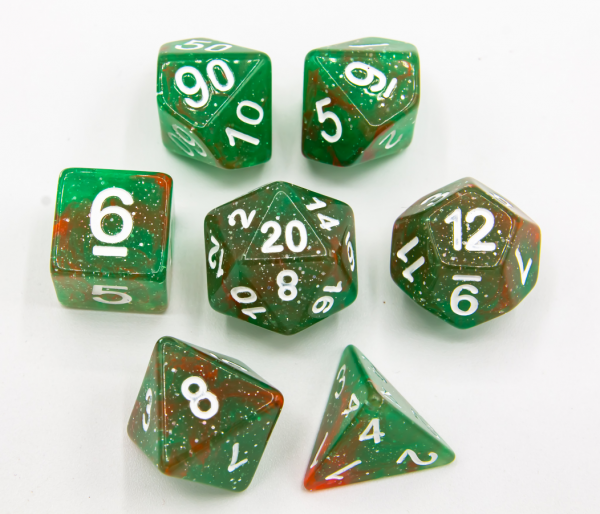 Red/Green Set of 7 Galaxy Polyhedral Dice with White Numbers