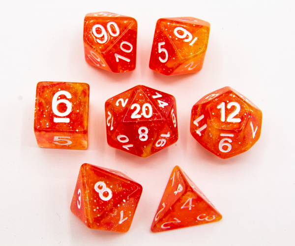 Red/Yellow Set of 7 Galaxy Polyhedral Dice with White Numbers