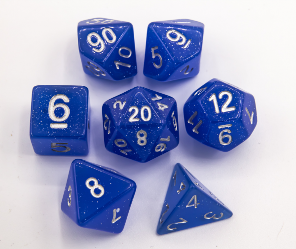 Blue Set of 7 Jelly Polyhedral Dice with Silver Numbers