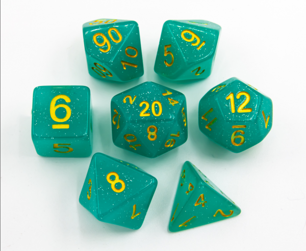Green Set of 7 Jelly Polyhedral Dice with Gold Numbers