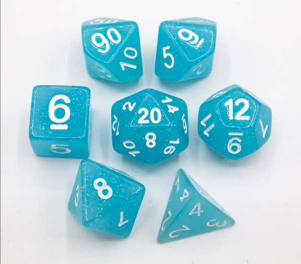 Light Blue Set of 7 Jelly Polyhedral Dice with White Numbers