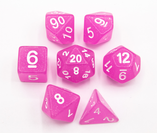 Pink Set of 7 Jelly Polyhedral Dice with White Numbers
