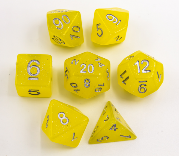 Yellow Set of 7 Jelly Polyhedral Dice with Silver Numbers