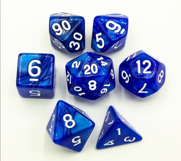 Blue Set of 7 Marbled Polyhedral Dice with White Numbers