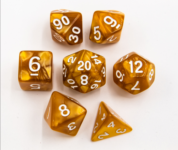 Gold Set of 7 Marbled Polyhedral Dice with White Numbers