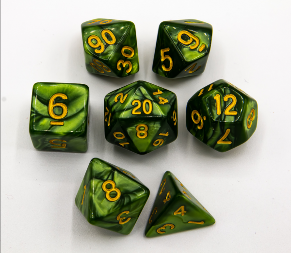 Grass Green Set of 7 Marbled Polyhedral Dice with Gold Numbers