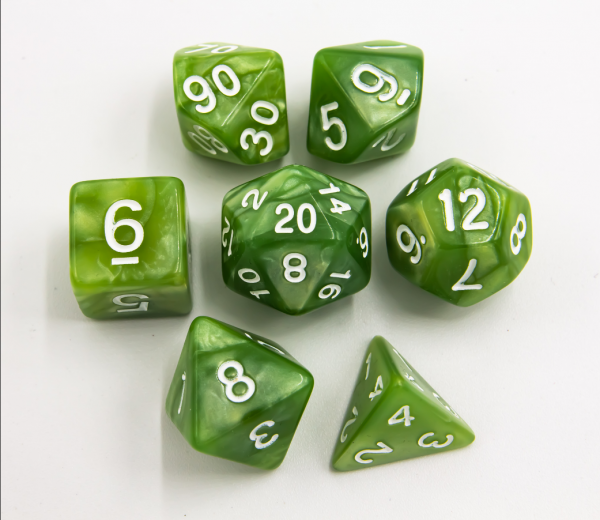 Lime Green Set of 7 Marbled Polyhedral Dice with White Numbers