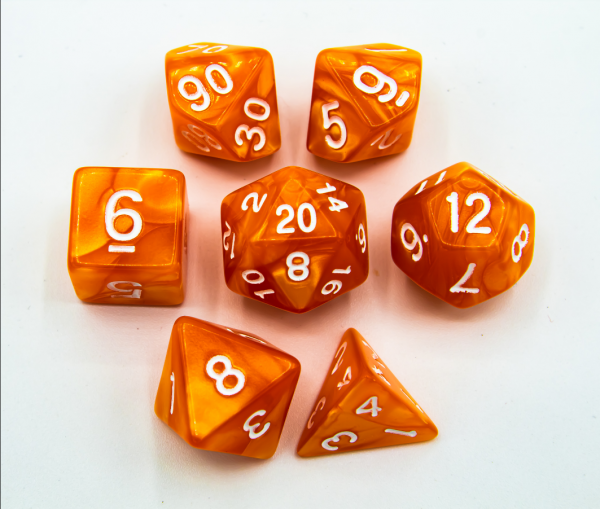 Orange Set of 7 Marbled Polyhedral Dice with White Numbers
