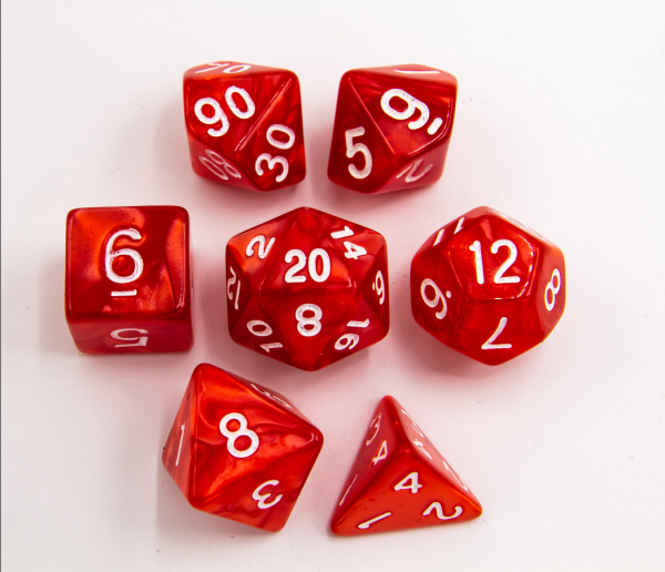 Red Set of 7 Marbled Polyhedral Dice with White Numbers