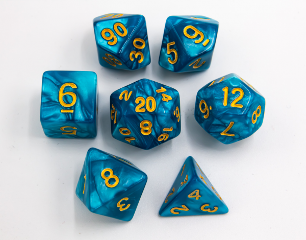 Teal Set of 7 Marbled Polyhedral Dice with Gold Numbers