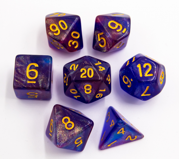 Blue/Purple Set of 7 Special Set Polyhedral Dice with Gold Numbers