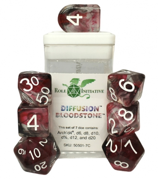 Polyhedral Dice Set: Diffusion Bloodstone Dice w/ Arch' d4 & Balance' d20 (7)
