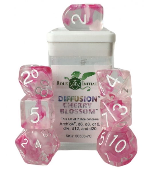 Polyhedral Dice Set: Diffusion Cherry Blossom Dice w/ Arch' d4 & Balance' d20 (7)