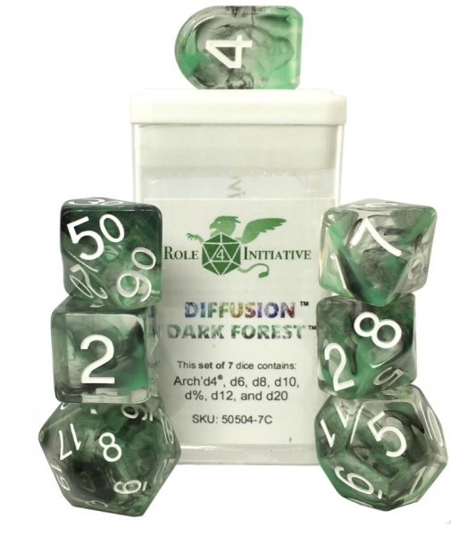 Polyhedral Dice Set: Diffusion Dark Forest Dice w/ Arch' d4 & Balance' d20 (7)