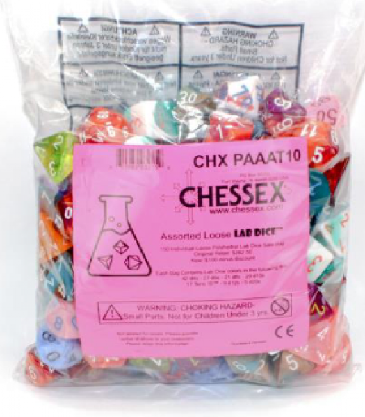 Chessex Lab Dice: Individual Loose Polyhedral Lab Dice Sale Bag (150) [Limited/Allocated]