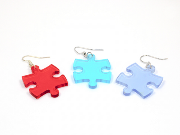 Earrings: Translucent Puzzle Piece Pair (Assorted Dice Colors)
