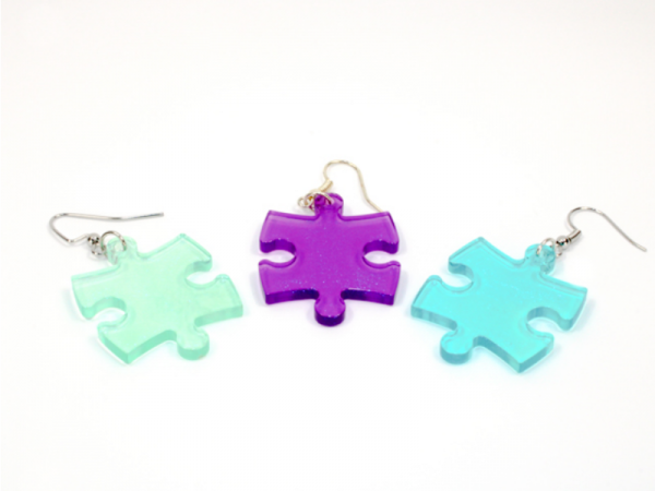 Earrings: Borealis Puzzle Piece Pair (Assorted Dice Colors)