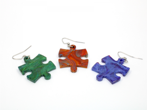 Earrings: Scarab Puzzle Piece Pair (Assorted Dice Colors)