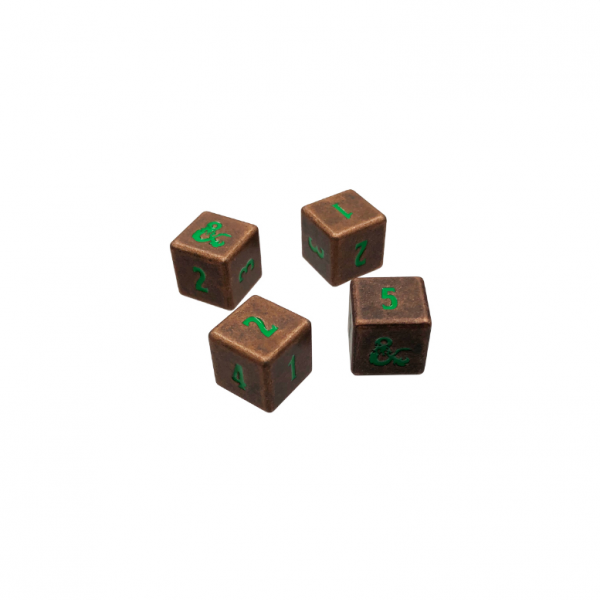 Dungeons & Dragons: Heavy Metal Fall 21 Copper and Green D6 Dice Set (4)