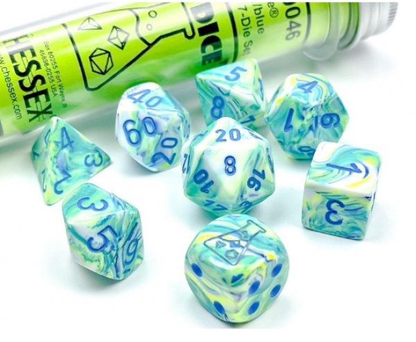 Chessex Lab Dice 5: Festive Polyhedral Garden/Blue 7-Die Set  [Limited/Allocated]