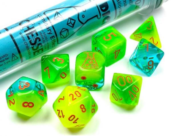 Chessex Lab Dice 5: Gemini Polyhedral Plasma Green-Teal/Orange Luminary Set [Limited/Allocated]