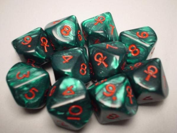 Koplow Special Icon Dice: Ankh Green/Red Pearlized d10 (1 Single Die)