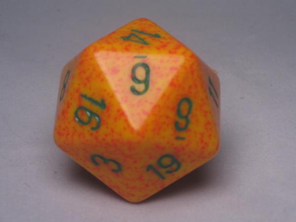 Chessex Special Dice: Yellow/Green Lotus Speckled 34mm d20