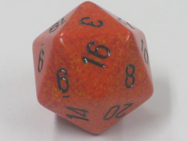Chessex Special Dice: Orange/Black Fire Speckled 34mm d20