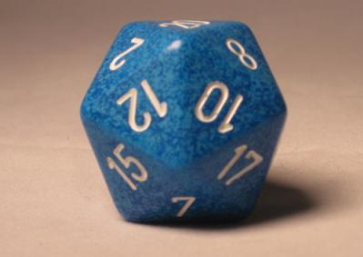 Chessex Special Dice: Blue/White Water 34mm d20
