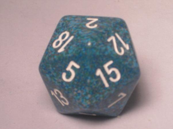 Chessex Special Dice: Blue/White Sea Speckled 34mm d20