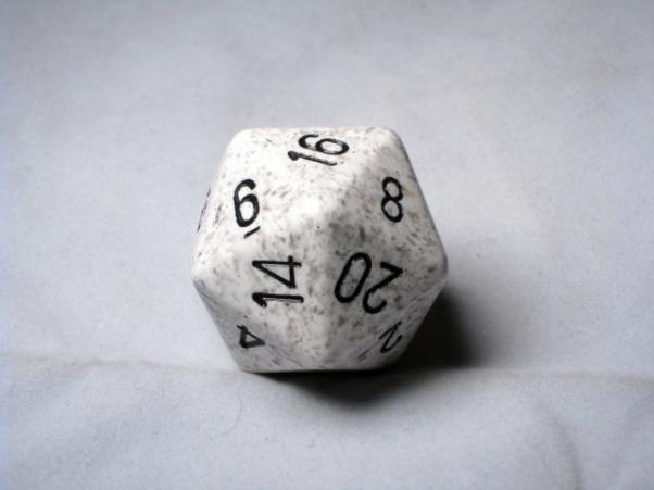 Chessex Special Dice: Black/White Arctic Camo Speckled 34mm d20