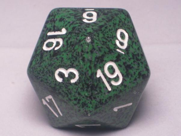 Chessex Special Dice: Green/White Recon Speckled 34mm d20