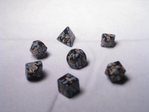Dwarven Stone Dice: 12mm Snow Obsidian Polyhedral 7-Die Set