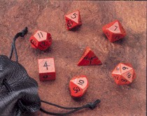 Dwarven Stone Dice: 12mm Red Jasper Polyhedral 7-Die Set