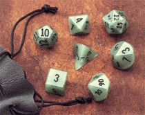 Dwarven Stone Dice: 12mm Green Adventurine (Aventurine) Polyhedral 7-Die Set