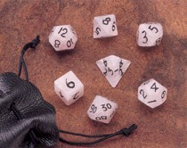 Dwarven Stone Dice: 12mm Rose Quartz Polyhedral 7-Die Set