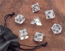 Dwarven Stone Dice: 12mm Clear Quartz Polyhedral 7-Die Set