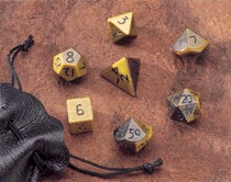 Dwarven Stone Dice: 12mm Tiger Eye Polyhedral 7-Die Set