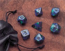 Dwarven Stone Dice: 12mm Azurite Polyhedral 7-Die Set
