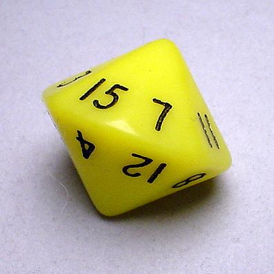 Chessex Special Dice: Yellow/Black Opaque d16