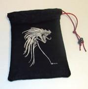 Silver Tribal Dragon (Black) Dice Bag