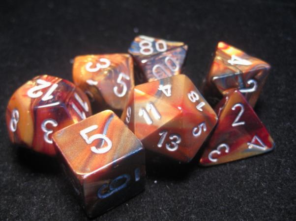 Chessex RPG Dice Sets: Gold/Silver Lustrous Polyhedral 7-Die Set