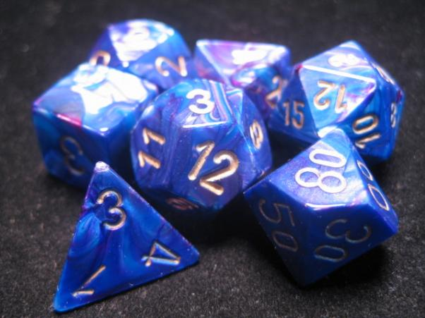 Chessex RPG Dice Sets: Purple/Gold Lustrous Polyhedral 7-Die Set