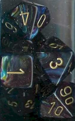 Chessex RPG Dice Sets: Shadow/Gold Lustrous Polyhedral 7-Die Set