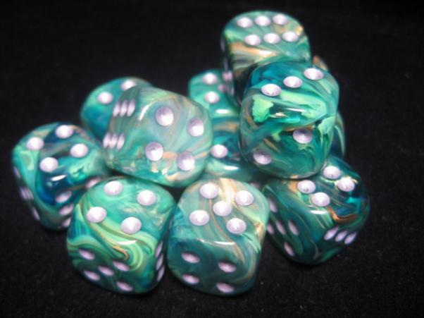Chessex Dice Sets: Green/Gold Lustrous 16mm d6 (12)